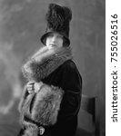 women wearing fur lined velvet... | Shutterstock . vector #755026516