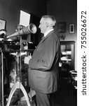 Small photo of Senator Warren Harding making a phonograph of a speech during his 1920 Presidential campaign. The future President referred to his public speaking as 'bloviating'.