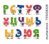 funny cartoon characters.... | Shutterstock .eps vector #755028328