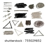 pencil strokes set. messy text... | Shutterstock .eps vector #755029852