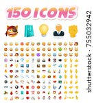 set of realistic cute icons on... | Shutterstock .eps vector #755032942