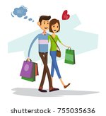 happy family with shopping bags....   Shutterstock .eps vector #755035636
