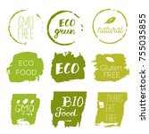 healthy food icons  labels.... | Shutterstock .eps vector #755035855