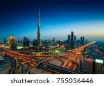 amazing night dubai downtown... | Shutterstock . vector #755036446