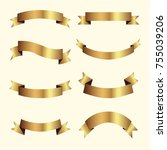 set of golden ribbons vector. | Shutterstock .eps vector #755039206