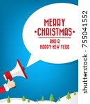 santa claus's hand holding... | Shutterstock .eps vector #755041552