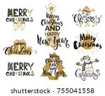 merry christmas holidays... | Shutterstock .eps vector #755041558