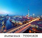 skyline of berlin in germany... | Shutterstock . vector #755041828
