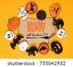 top view of frame of halloween... | Shutterstock . vector #755042932
