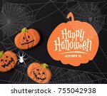 close up view of halloween... | Shutterstock . vector #755042938