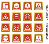road sign set icons set in red... | Shutterstock . vector #755043988