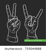 male vector peace sign and rock ...   Shutterstock .eps vector #755044888