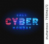 cyber monday. promotional... | Shutterstock .eps vector #755046172