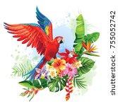 tropical summer arrangement... | Shutterstock .eps vector #755052742