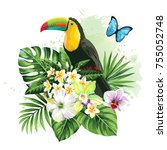 tropical summer arrangement... | Shutterstock .eps vector #755052748