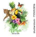 tropical summer arrangement...   Shutterstock .eps vector #755052856