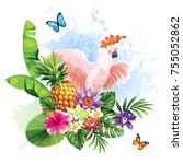tropical summer arrangement... | Shutterstock .eps vector #755052862