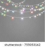 christmas lights isolated on... | Shutterstock .eps vector #755053162