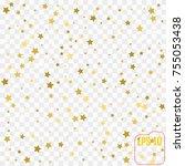 gold star confetti rain festive ... | Shutterstock .eps vector #755053438