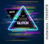 triangle banner  black banner... | Shutterstock .eps vector #755053978