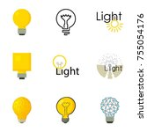 light bulb logo icons set.... | Shutterstock . vector #755054176