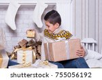 happy little smiling boy with... | Shutterstock . vector #755056192