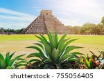 pyramid of kukulkan in chichen... | Shutterstock . vector #755056405
