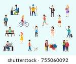businesspeople  teenager... | Shutterstock . vector #755060092