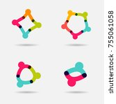people together logo set. union ... | Shutterstock .eps vector #755061058
