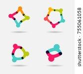 people together logo set. union ... | Shutterstock .eps vector #755061058