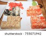 rolls  japanese food | Shutterstock . vector #755071942