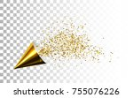 golden party popper with... | Shutterstock .eps vector #755076226