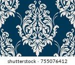 vector damask seamless pattern... | Shutterstock .eps vector #755076412