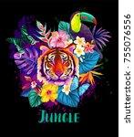 tropical summer arrangement... | Shutterstock .eps vector #755076556