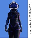 female futuristic astronaut... | Shutterstock . vector #755076796