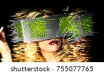 head of a woman with 2 video... | Shutterstock . vector #755077765