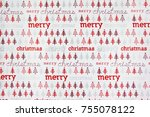 christmas wrapping paper pattern | Shutterstock . vector #755078122