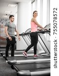 personal fitness trainer... | Shutterstock . vector #755078572