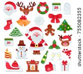 christmas vector icons new year ... | Shutterstock .eps vector #755082355