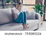 upset woman has first symptoms... | Shutterstock . vector #755085226