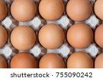close up of chicken eggs in... | Shutterstock . vector #755090242