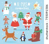 christmas vector characters... | Shutterstock .eps vector #755091586
