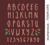 christmas font candy cane... | Shutterstock .eps vector #755091595