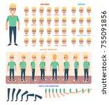 flat guy character set.... | Shutterstock .eps vector #755091856