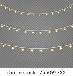 christmas lights isolated on... | Shutterstock .eps vector #755092732