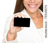 Woman showing business card. Young female professional executive smiling in white suit - closeup of business card. - stock photo
