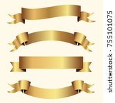 set of golden ribbons vector. | Shutterstock .eps vector #755101075