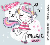 cute cartoon unicorn girl... | Shutterstock .eps vector #755101222