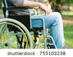 detail of a disabled man using... | Shutterstock . vector #755103238