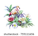 flowers carry the scent of... | Shutterstock . vector #755111656